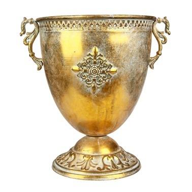 Vitale Marial Gold Metal Oval Kupa Vazo Renkli
